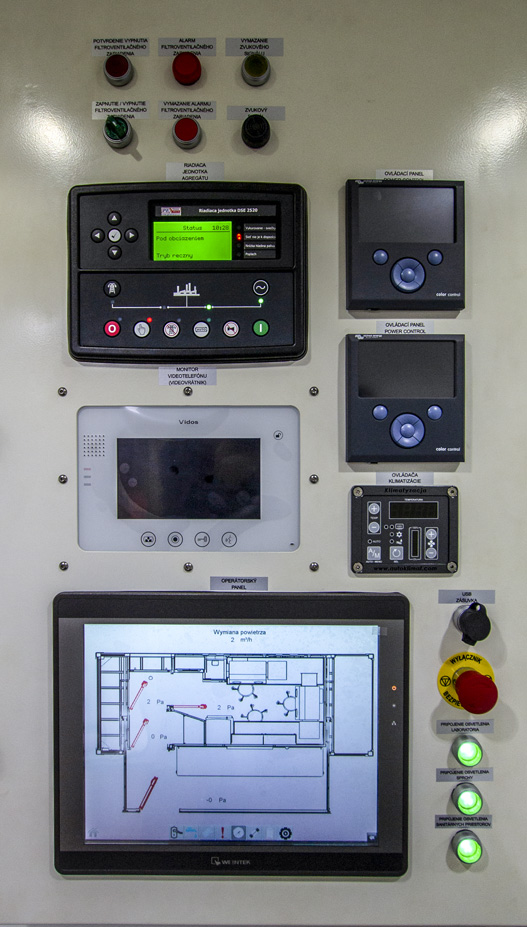 KMLI - Kontenerowe Mobilne Laboratorium Identyfikacyjne - Panel sterowania