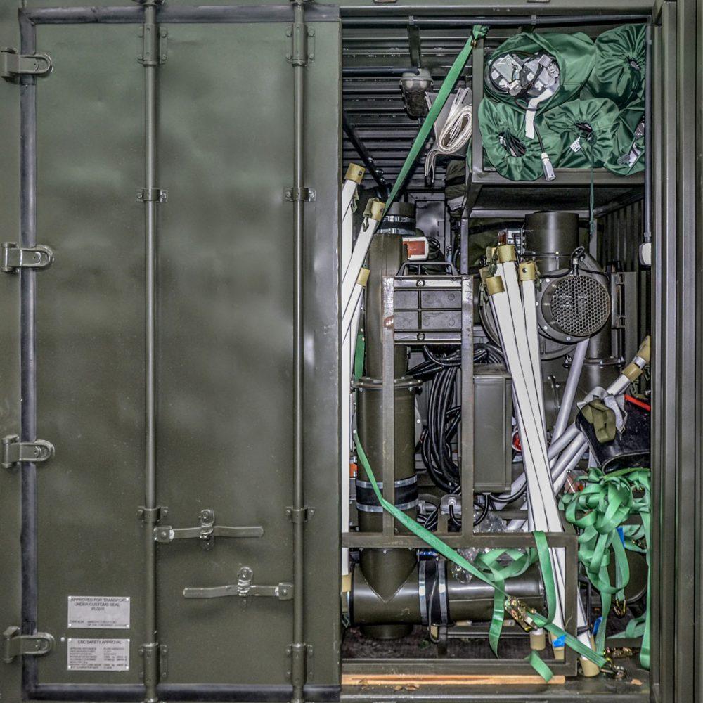 Namiotowy System Izolacji NSI - osprzęt zmagazynowany w kontenerze KT