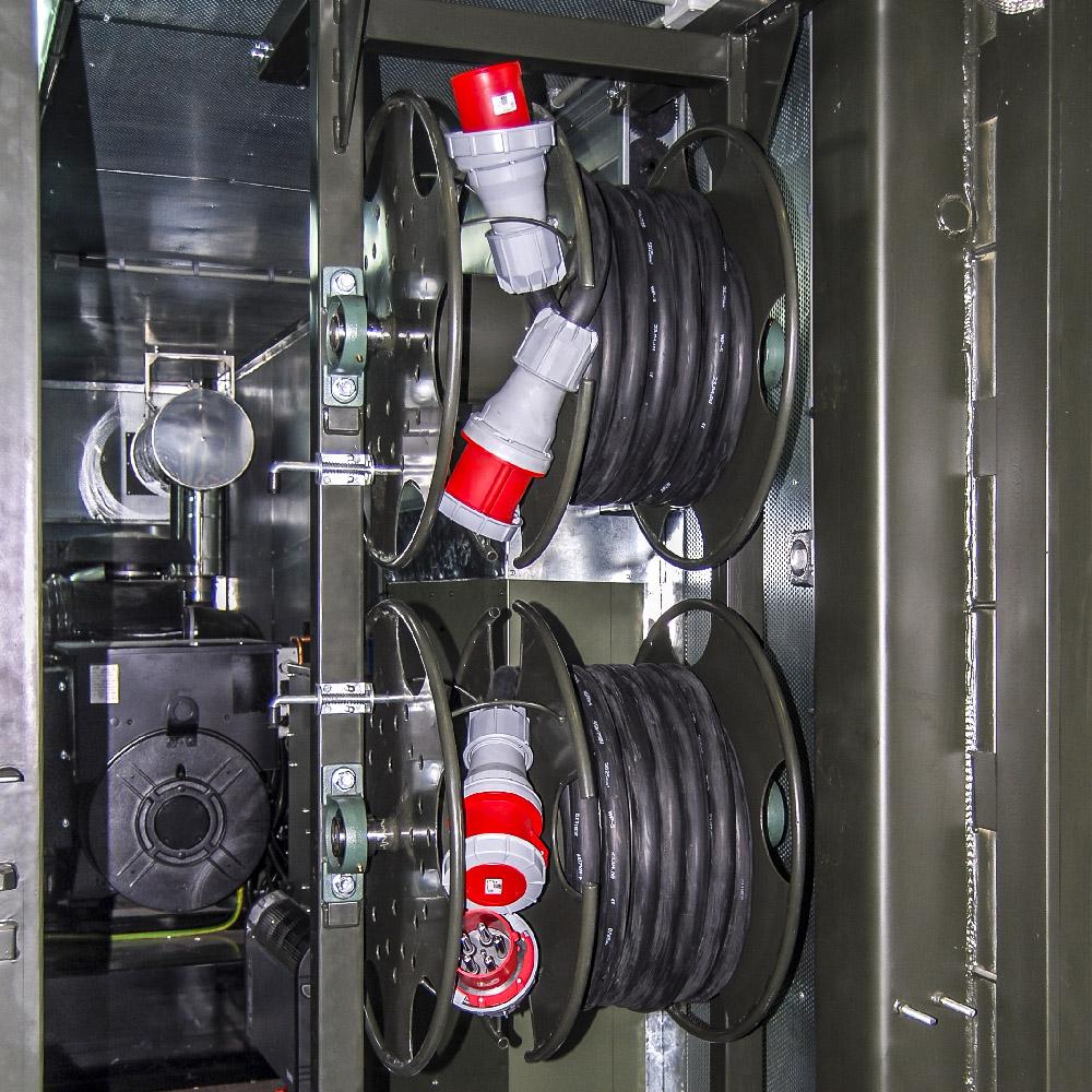 Kontenerowa Elektrownia Polowa KEP 2x125 - Zwijaki kablowe